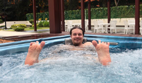 Diabetic foot care treatment - guy in a hot tub